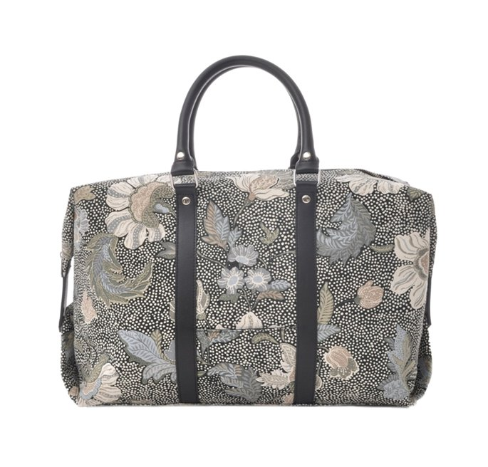 Black Flower Linen Boston Bag