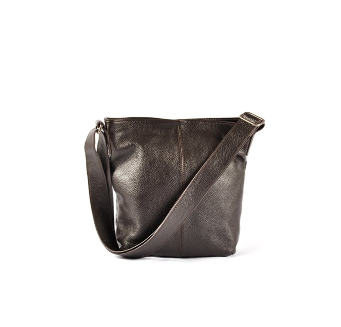 Brown Grained Leather Small Shoulder Bag
