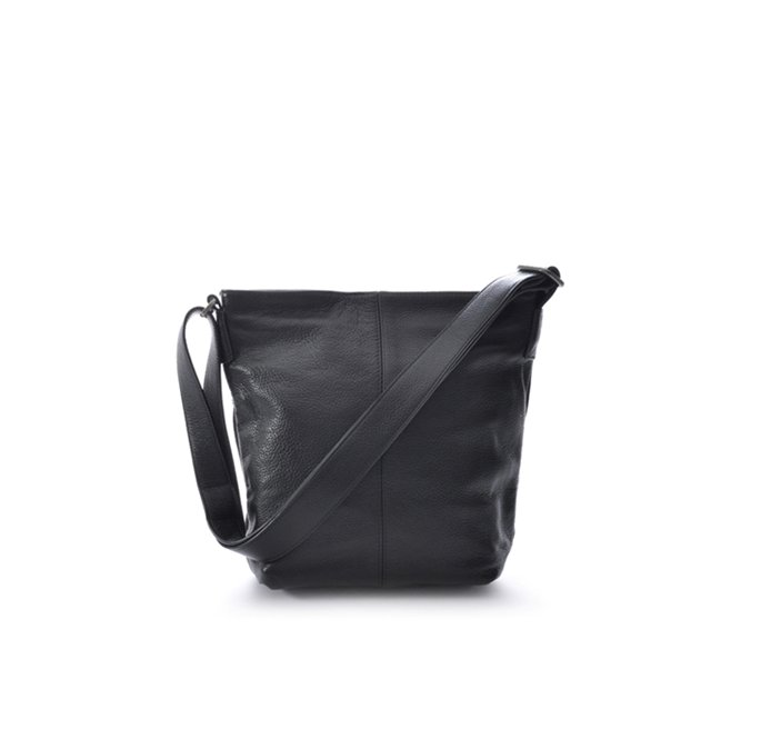 Black Grained Leather Small Shoulder Bag