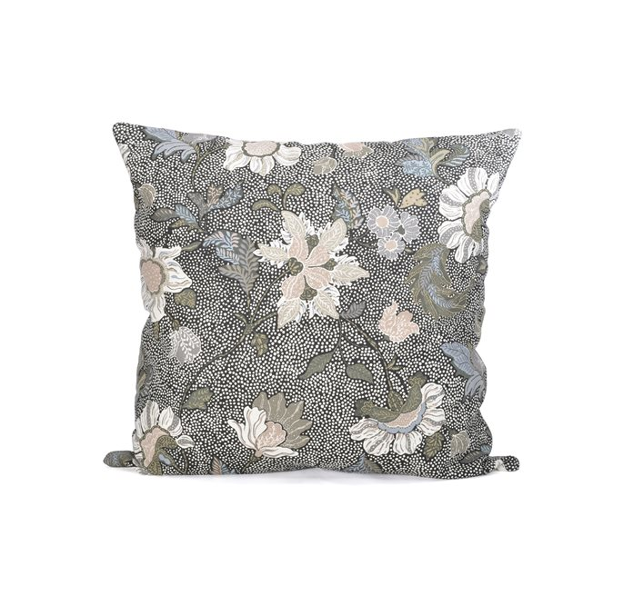 Black Flower Linen Cushion Cover