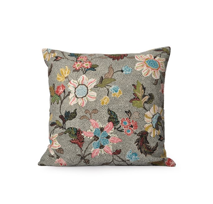 Grey Flower Linen Cushion Cover