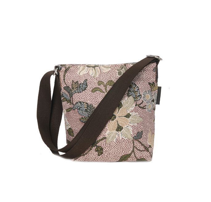 Dusty Pink Flower Linen Small Shoulder Bag