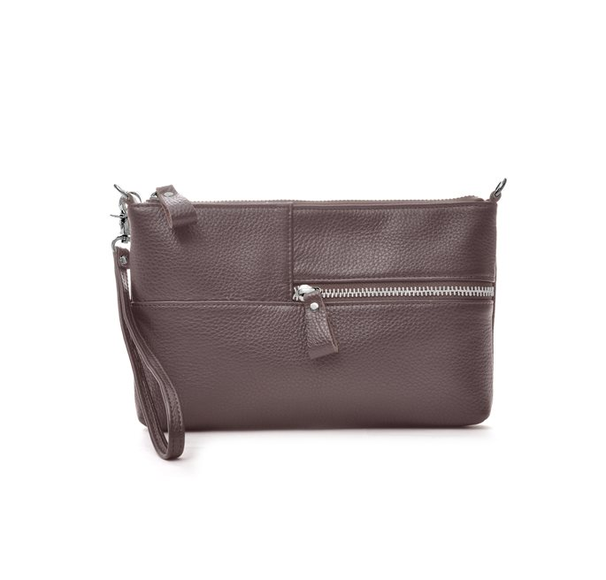 Brown Envelope Bag Grained Leather