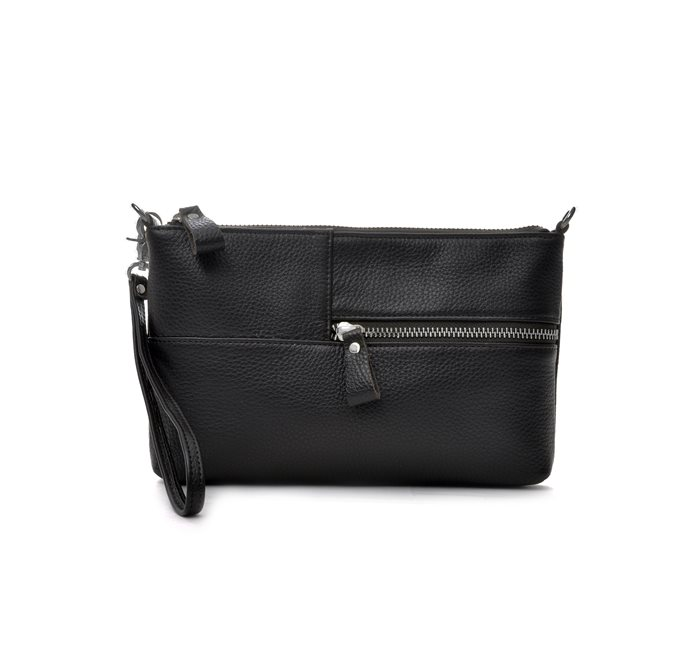 Black Grained Leather Envelope Bag  (S)