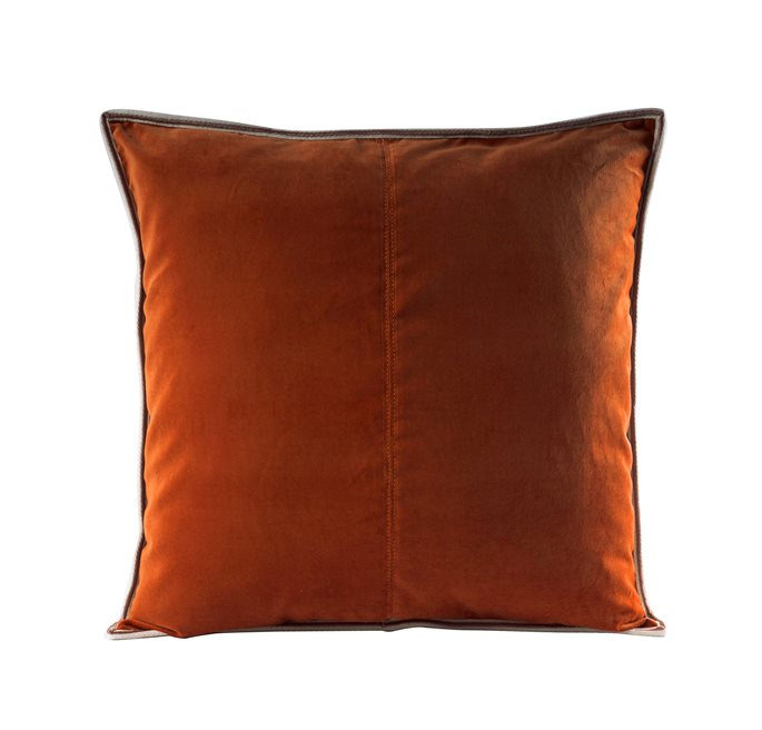 Cognac Striped Edge Velvet C/c 50x50