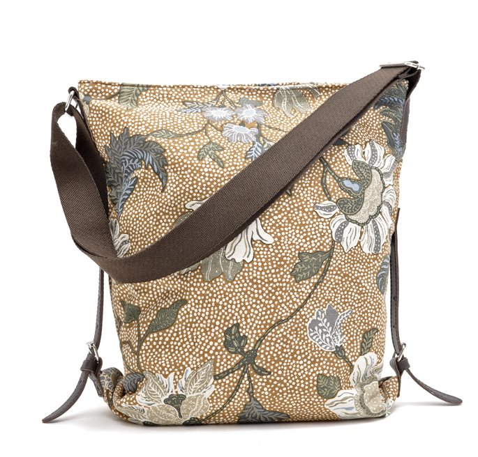 Shoulder Bag Camel Flower Linen