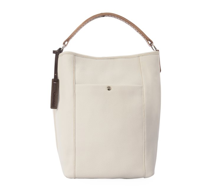 Bucket Bag White Grained Leather