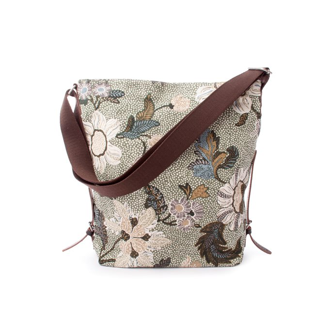 Shoulder Bag Soft Green Flower Linen